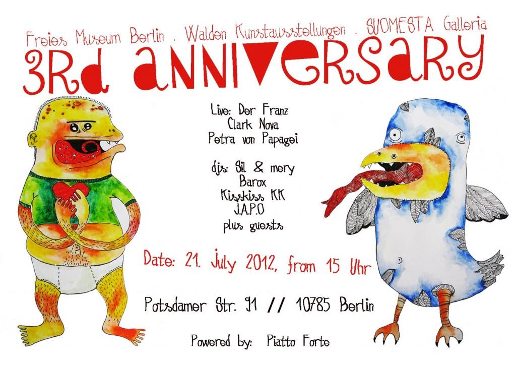 3rd Anniversary Freies Museum Berlin, Sommerfest mit Der Franz, Petra von Papagei, Clark Nova & The Bellman Boys